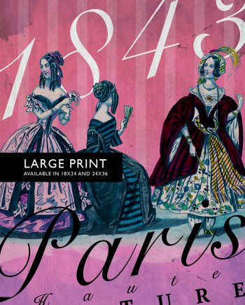 Vintage Paris Fashion Print Illustrated French Antique Fashion - Large Giclee Print on Cotton Canvas and Satin Photo Paper