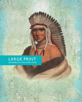 Vintage Pawnee Brave Native American Man Art Print Vintage Giclee on Cotton Canvas and Satin Photo Paper