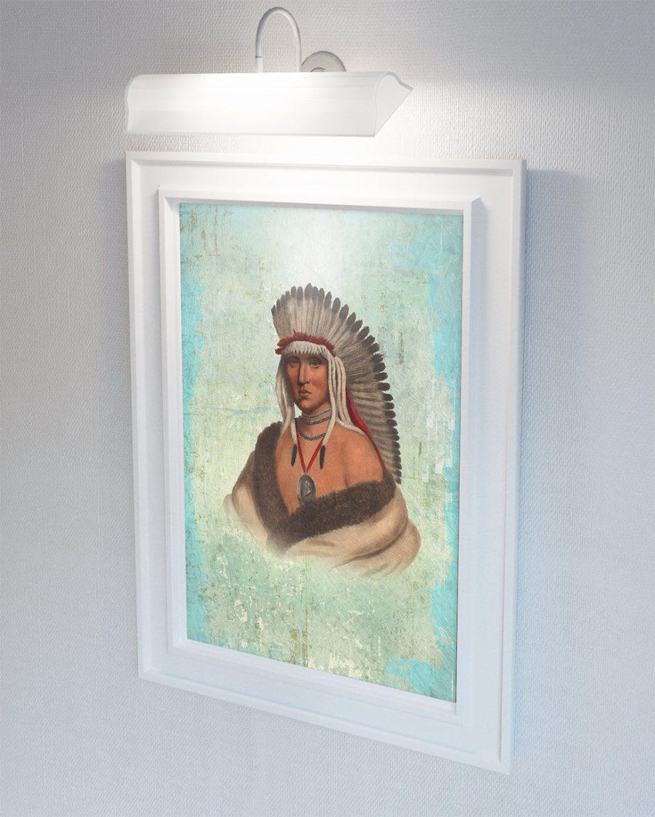 Vintage Pawnee Brave Native American Man Art Print Vintage Giclee on Cotton Canvas and Satin Photo Paper