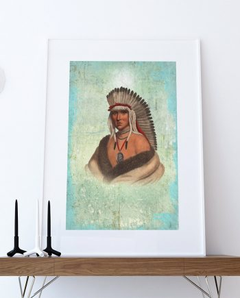 Vintage Pawnee Brave Native American Man Art Print Vintage Giclee on Cotton Canvas or Paper Canvas Poster Wall Decor