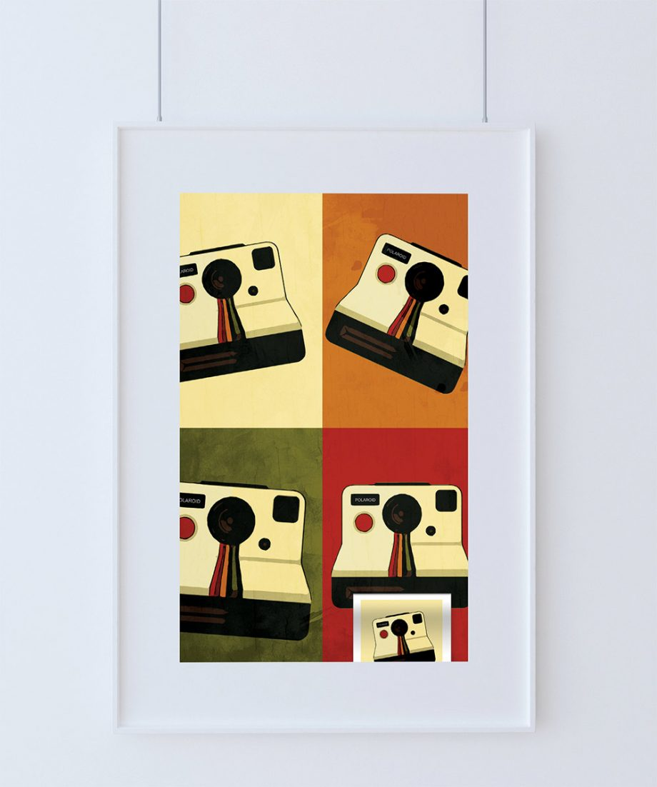 Vintage Retro Polaroid Photography Camera Print Art Print Poster Giclee on Cotton Canvas and Paper Canvas Wall Decor