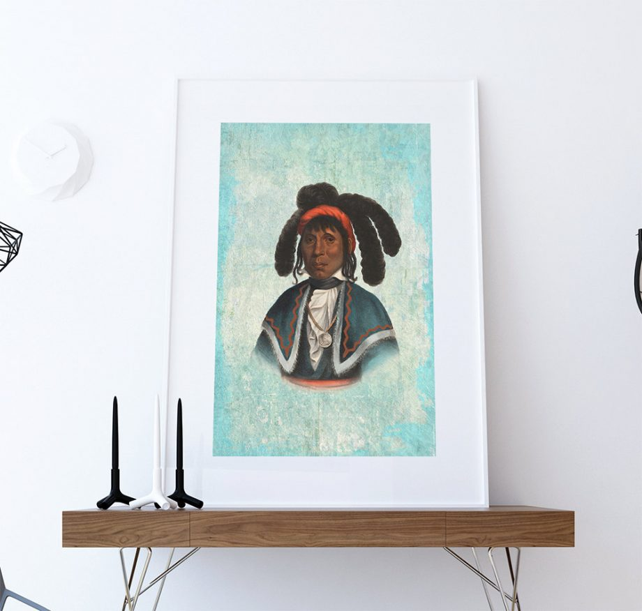 Vintage Seminole Chief Native American Man Art Print Vintage Giclee on Cotton Canvas or Paper Canvas Poster Wall Decor