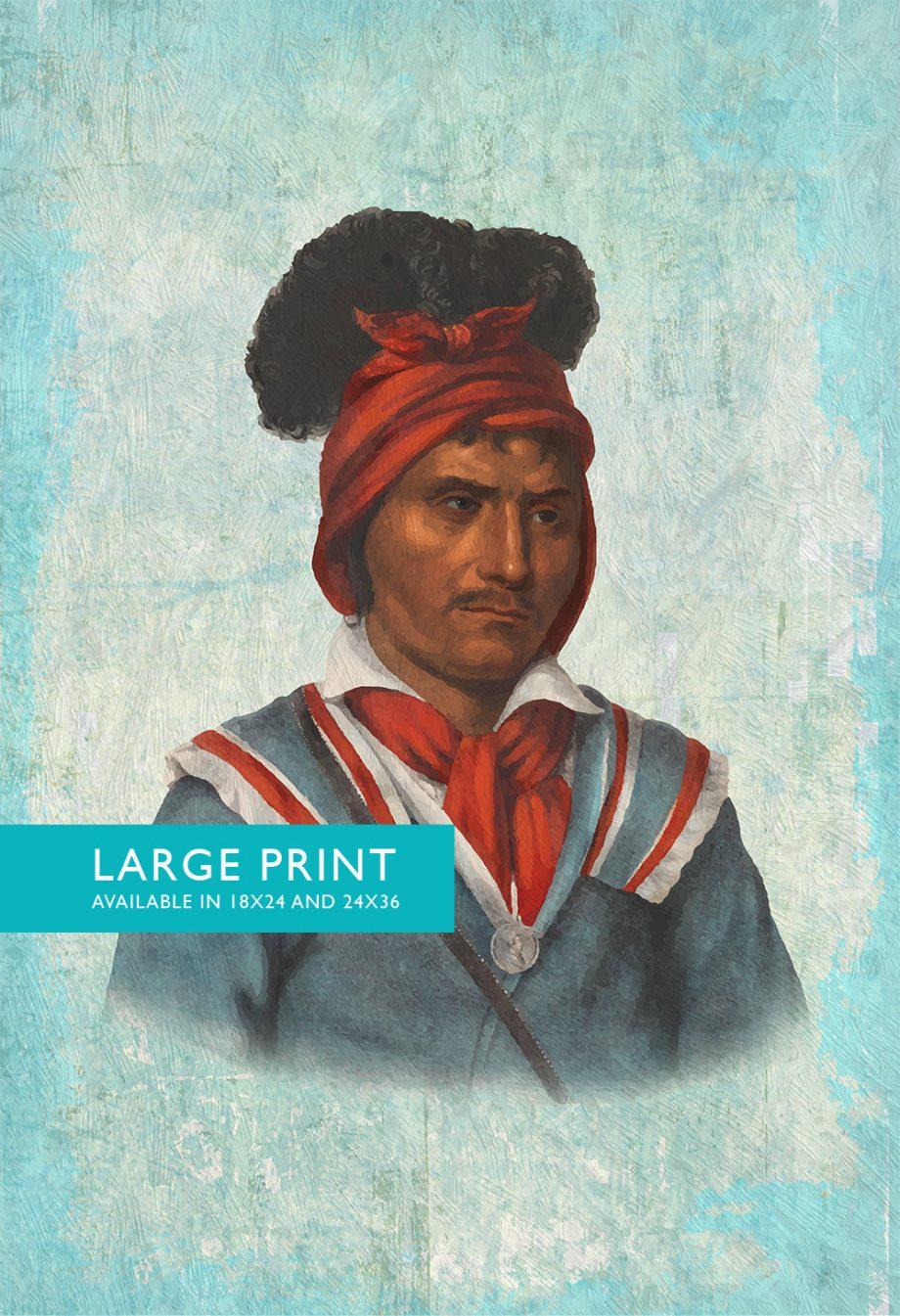Vintage Seminole Man Native American Man Art Print Vintage Giclee on Cotton Canvas and Satin Photo Paper