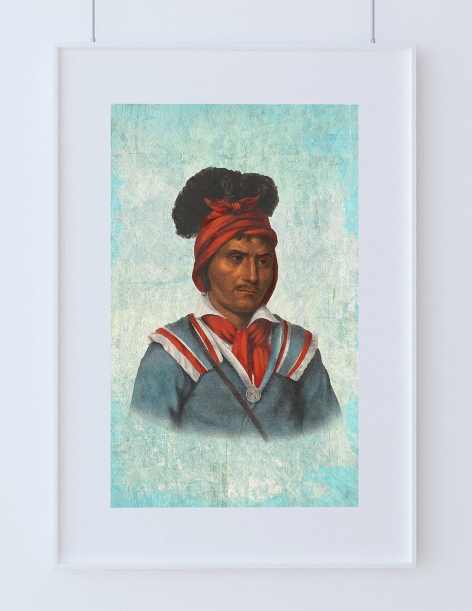 Vintage Seminole man Native American Man Art Print Vintage Giclee on Cotton Canvas or Paper Canvas Poster Wall Decor