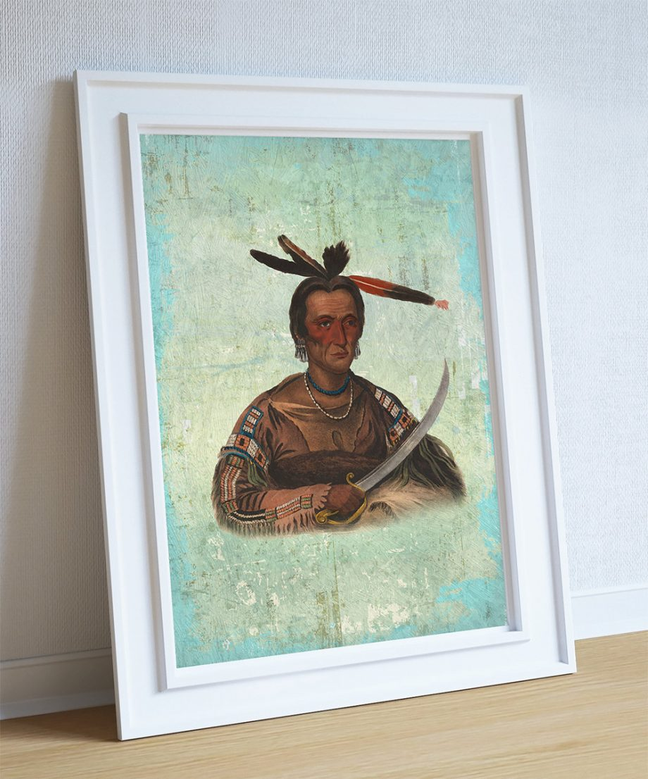 Vintage Sioux Chief Native American Man Art Print Vintage Giclee on Cotton Canvas and Satin Photo Paper