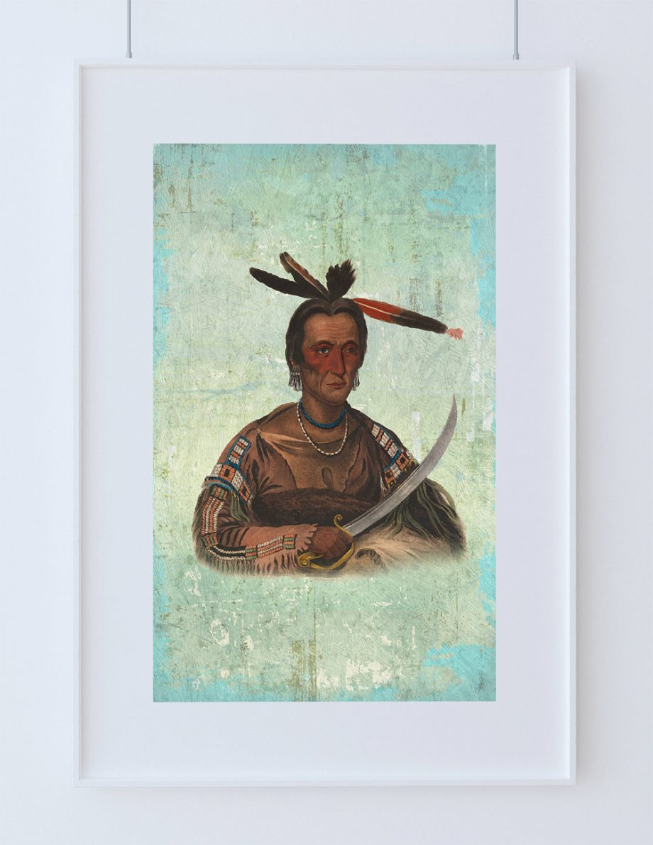 Vintage Sioux Chief Native American Man Art Print Vintage Giclee on Cotton Canvas or Paper Canvas Poster Wall Decor