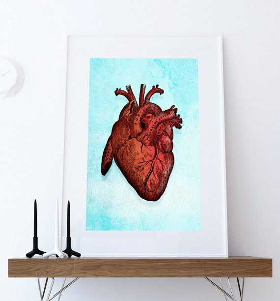 Vintage Victorian Medical Heart Anatomy Print Giclee Anatomy Print on Cotton Canvas and Paper Canvas Home Wall Decor