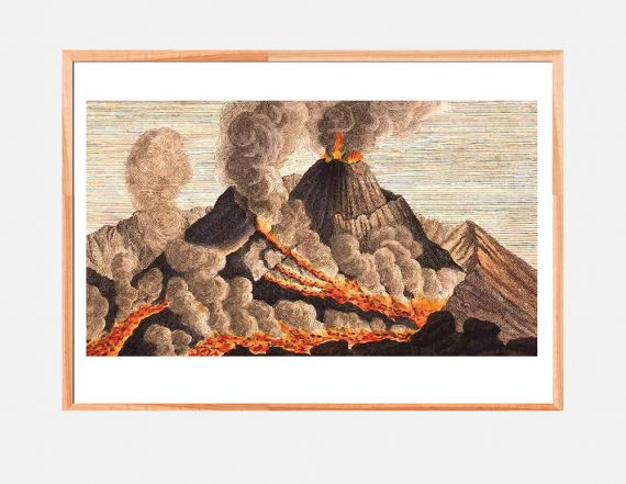 Vintage Volcano Print Set of Two art home decor art print floral wall decor wall art on Cotton Canvas or Paper Canvas