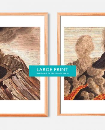 Vintage Volcano Print Set of Two art home decor art print floral wall decor wall art on Cotton Canvas or Satin Photo Paper