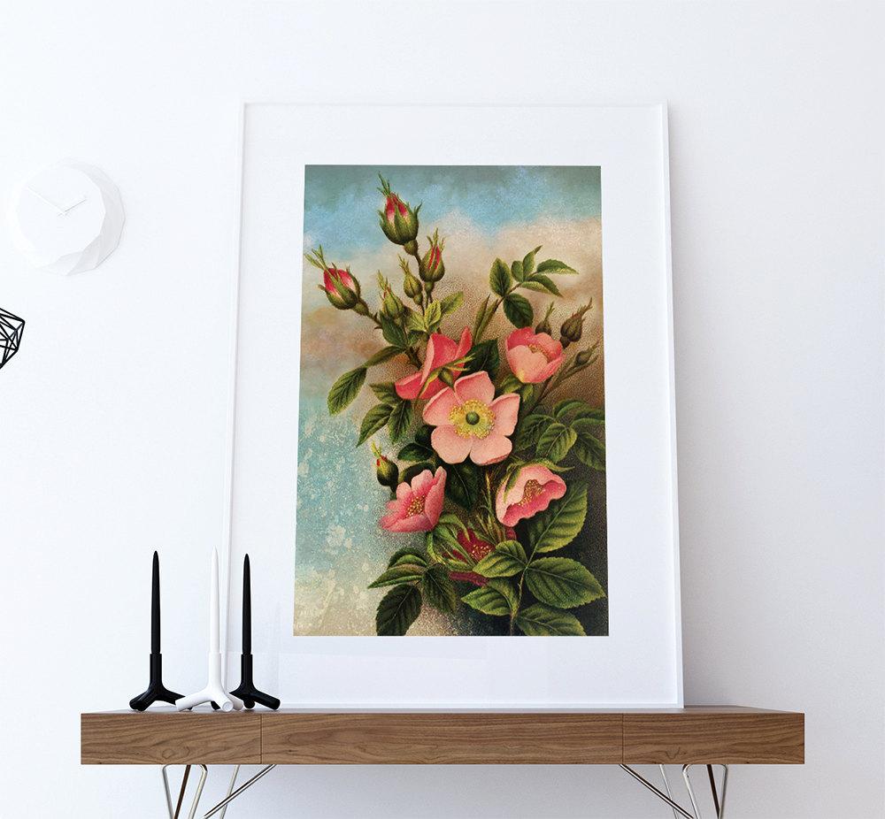 ... Floral Wall Decor. Vintage Wild Roses Print Art Rose Gift Botanical