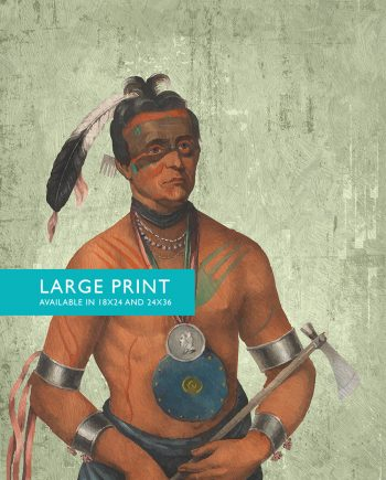 Vintage Winnebago Chief Native American Man Art Print Vintage Giclee  on Cotton Canvas and Satin Photo Paper