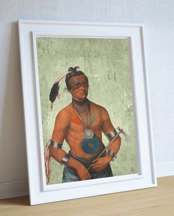 Vintage Winnebago Chief Native American Man Art Print Vintage Giclee on Cotton Canvas or Paper Canvas Poster Wall Decor