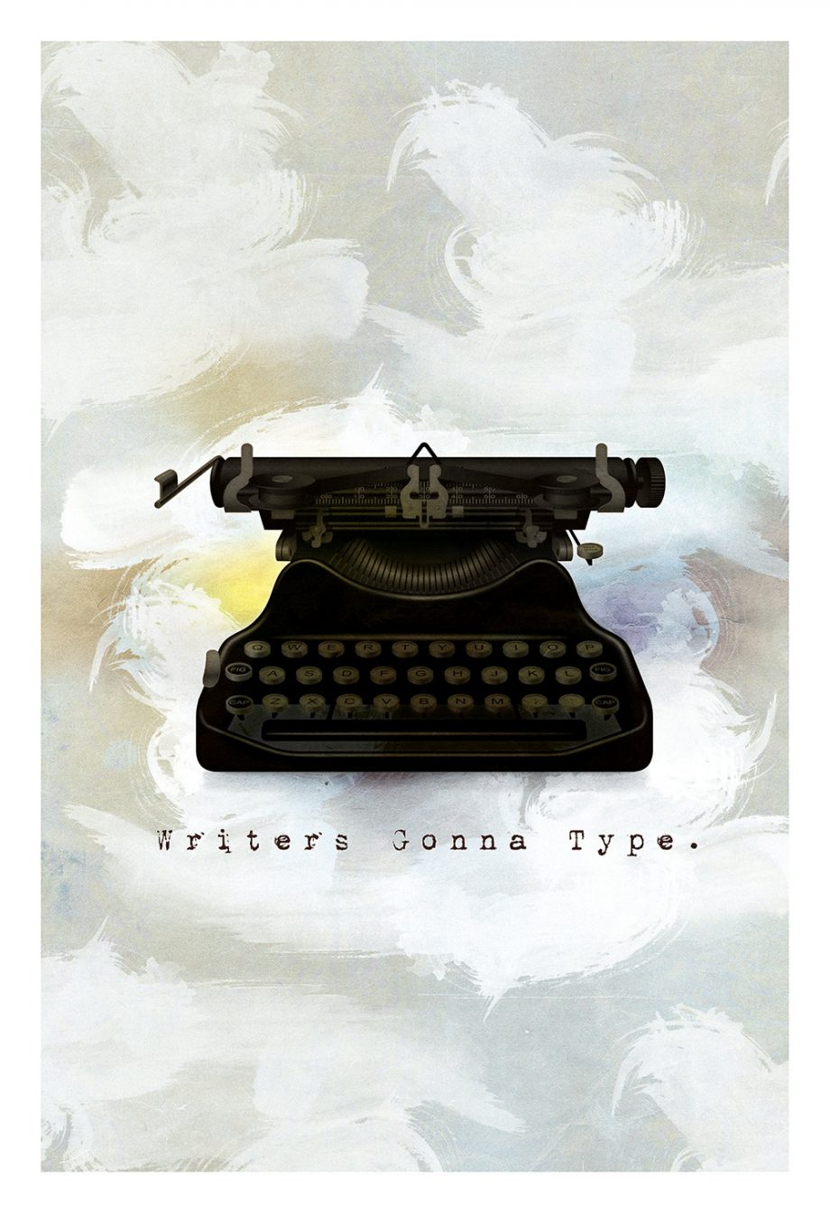 Writers Original Illustration Hipster Giclee Print on Cotton Canvas and Paper Canvas Vintage Typewriter Wall Decor