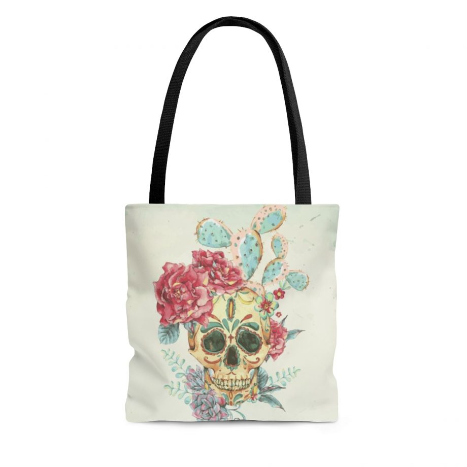 Boho Reusable Tote Bag Fetauring Skull with Desert Cactus Succulent