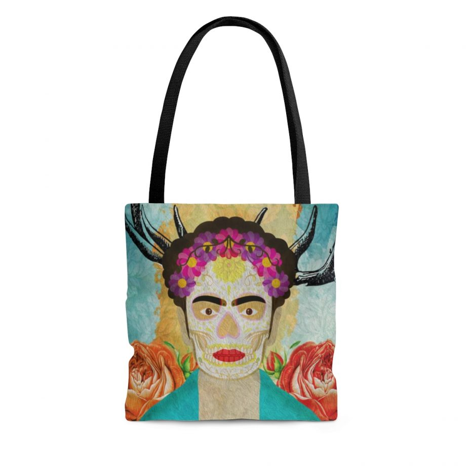 Frida Kahlo Reusable Tote Bag Mexican Surreal Inspired Illustration