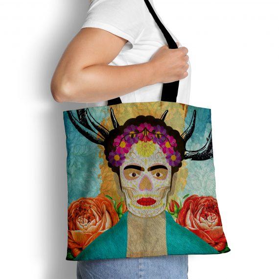 Frida Kahlo Reusable Tote Bag Mexican Surreal Inspired Illustration