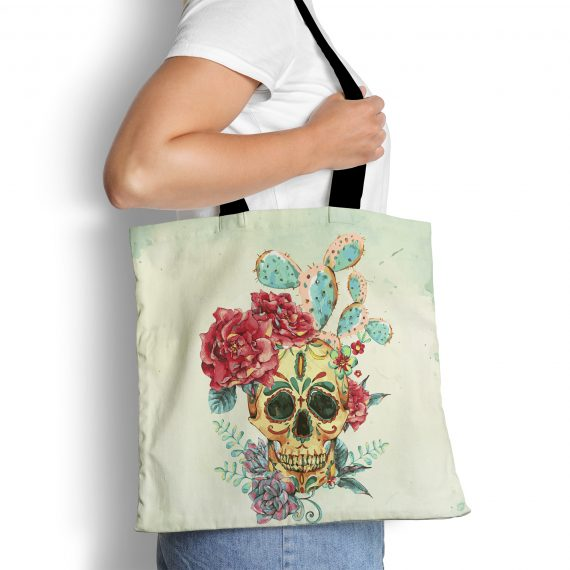 Boho Reusable Tote Bag Fetauring Skull with Desert Cactus Succulent
