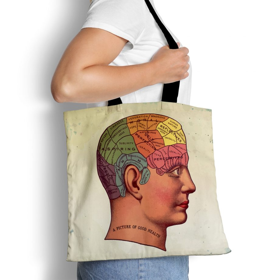 Vintage Anatomy Reusable Tote Bag - Victorian Brain Medical Textbook