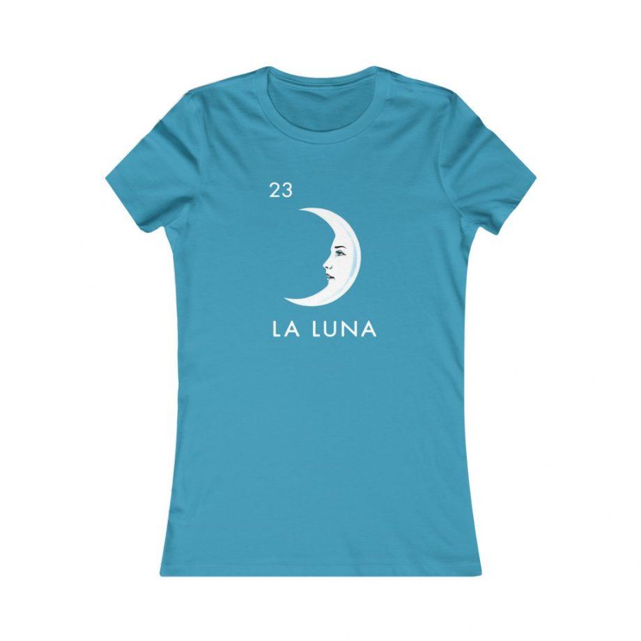 La Luna Moon Mexican Loteria Graphic Tee - Aqua