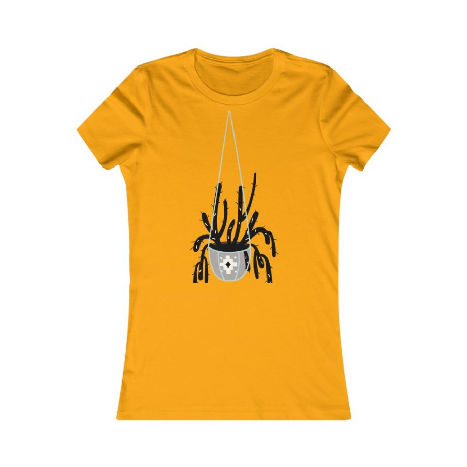 Mod Style Hanging Plant Cactus Graphic Tee - Gold