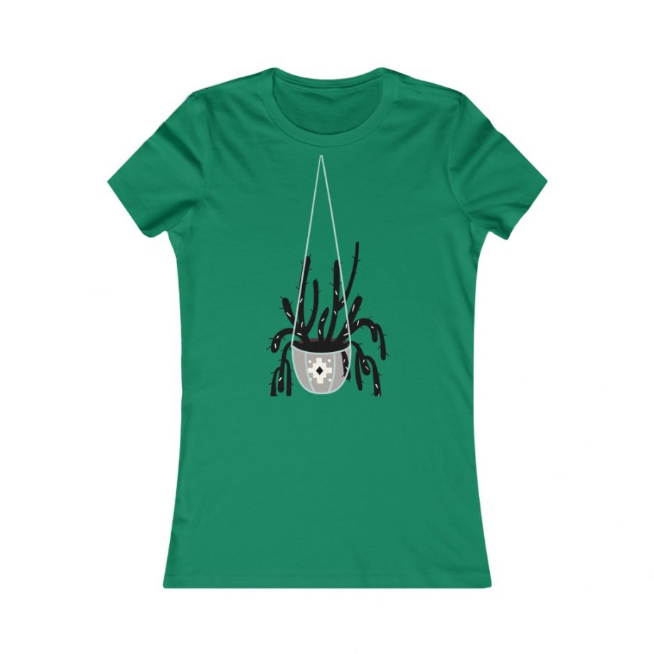 Mod Style Hanging Plant Cactus Graphic Tee - Kelly
