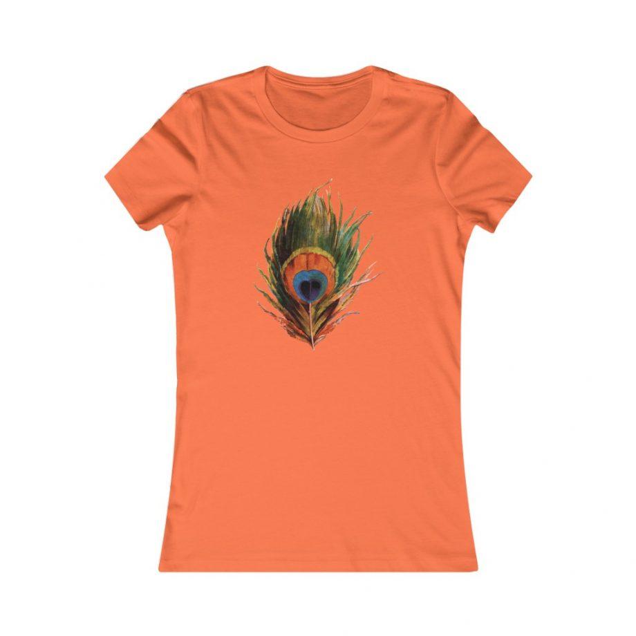 Peacock Feather Boho Graphic Tee - Orange