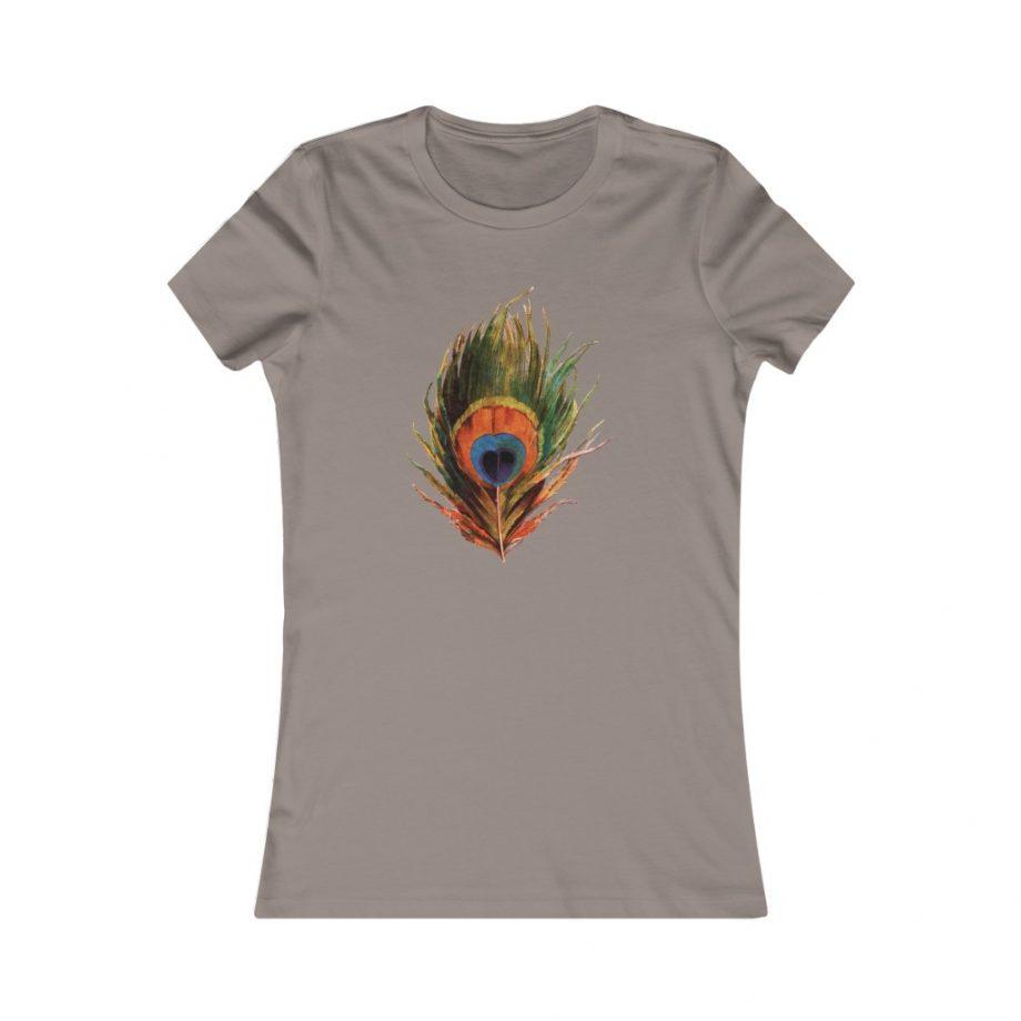 Peacock Feather Boho Graphic Tee - Pebble Brown