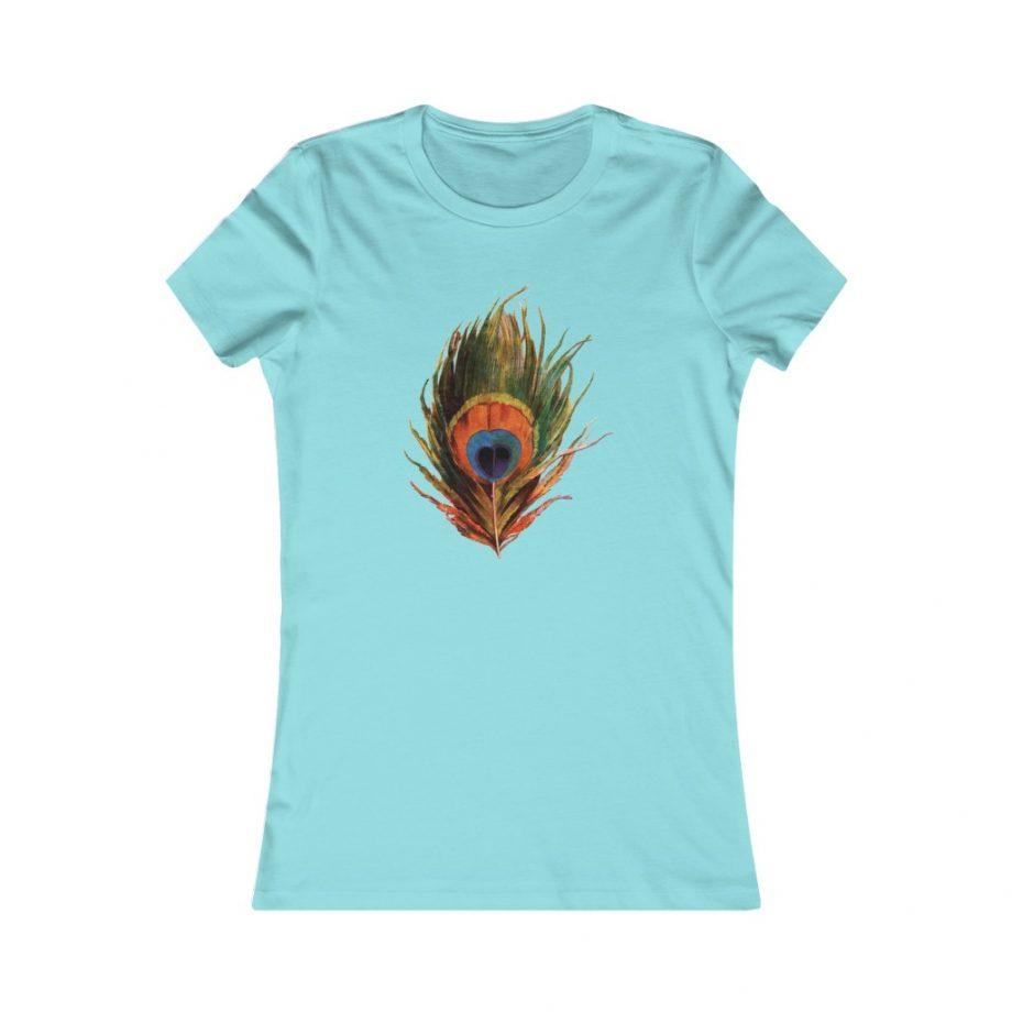 Peacock Feather Boho Graphic Tee - Seafoam Blue