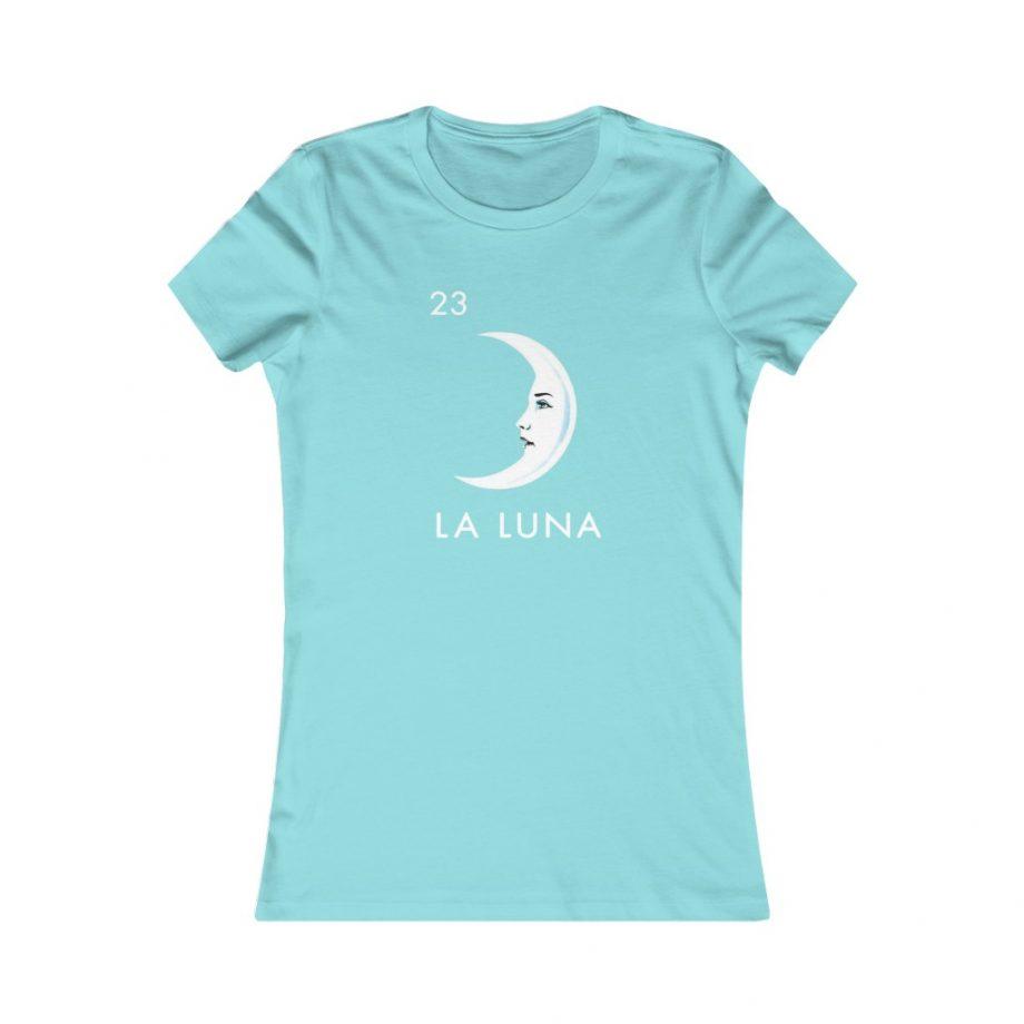 La Luna Moon Mexican Loteria Graphic Tee - Seafoam Blue