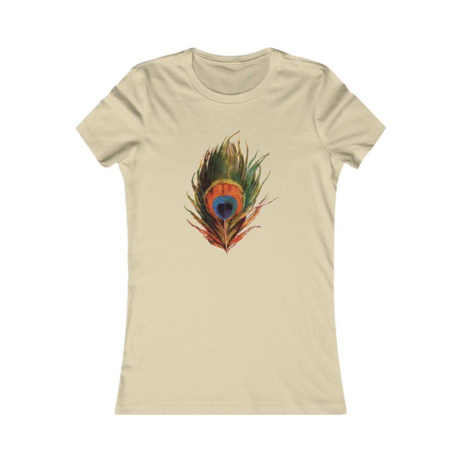 Peacock Feather Boho Graphic Tee - Soft Cream