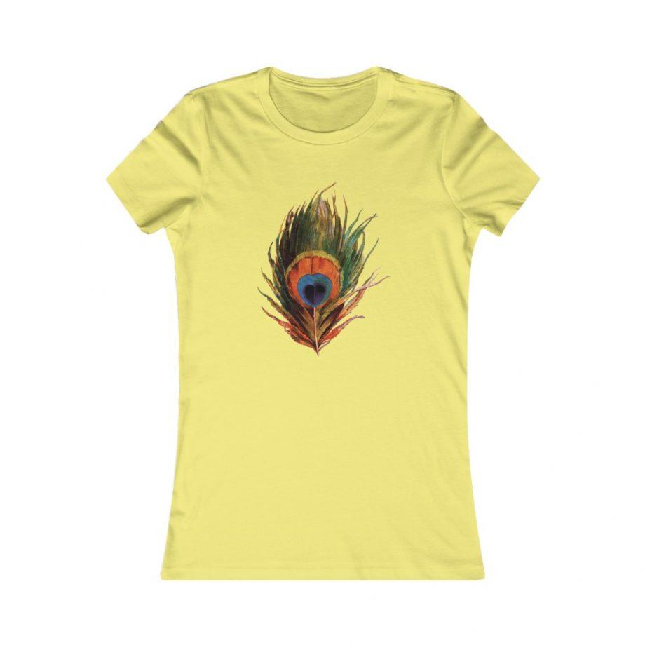 Peacock Feather Boho Graphic Tee - Yellow