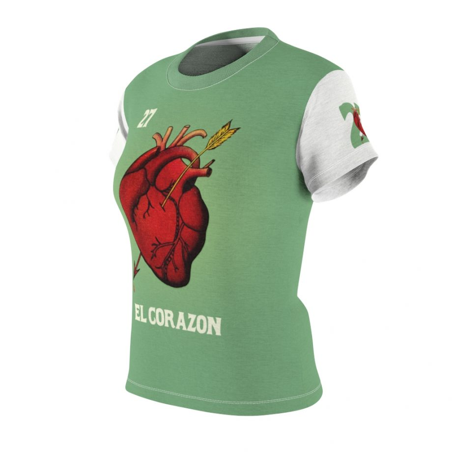 El Corazon Heart Anatomy Loteria Women's T-Shirt - Front Angle with Left Sleeve