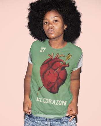 El Corazon Heart Anatomy Loteria Women's T-Shirt
