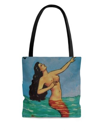 Vintage Mermaid Beach Tote Bag - La Sirena Loteria Mexicana