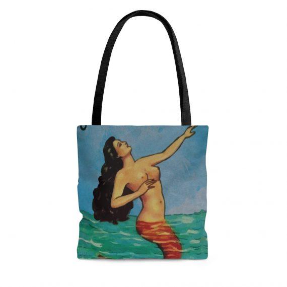 Vintage Mermaid Beach Tote Bag - La Sirena Loteria Mexicana