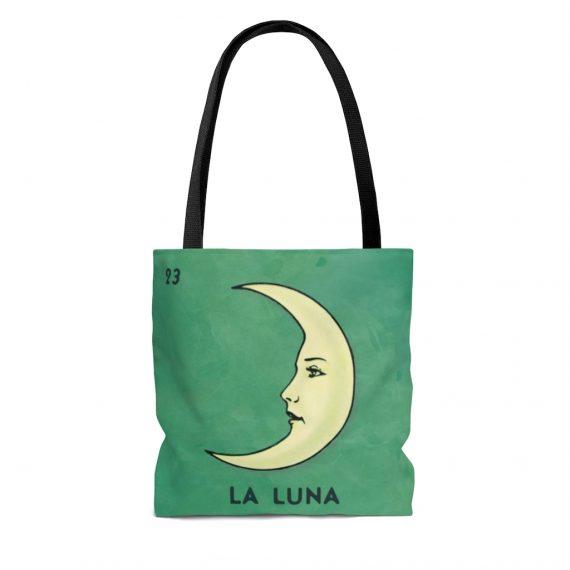 La Luna Loteria Mexicana Vintage Artwork Reusable Tote Bag