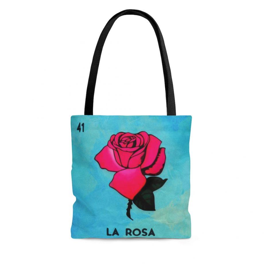 Vintage Art Tote Bag - La Rosa Loteria Mexicana